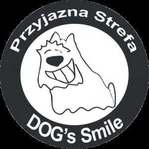 Logo dog's smile, uśmiechnięty pies, przyjazna strefa